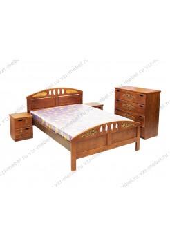 """Кровать из массива сосны """"Галатея"""" с резьбой"""