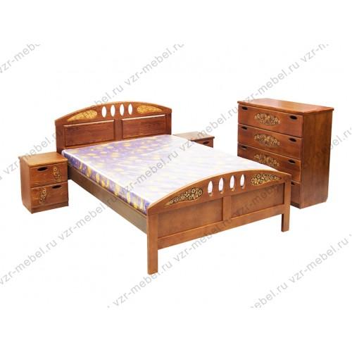 """Кровать двуспальная """"Галатея"""" с резьбой"""