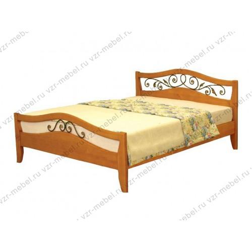 """Кровать из массива березы """"Алиса"""" с ковкой"""