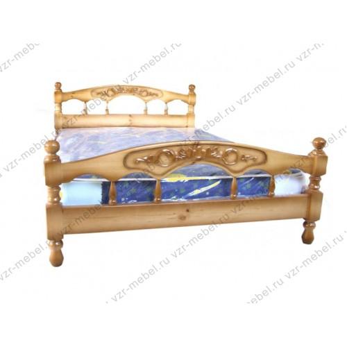 """Кровать двуспальная """"Точеная-2""""с резьбой"""