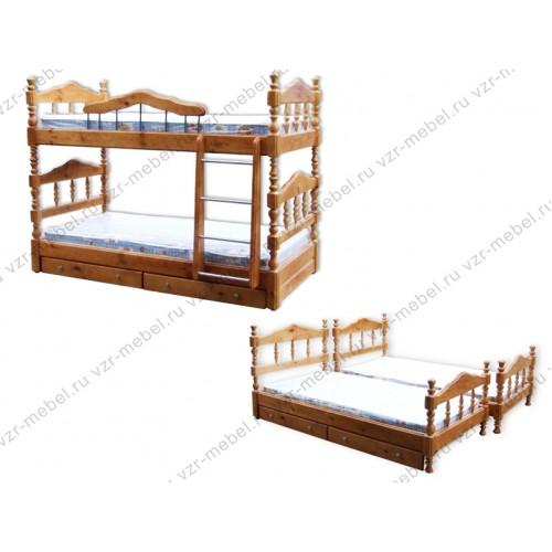 """Кровать двухъярусная """"Точеная"""""""