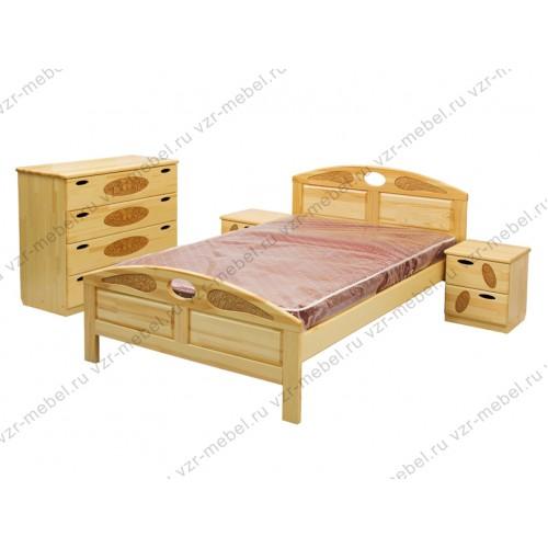 """Кровать из массива березы """"Галатея-1"""" с резьбой"""